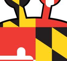 Maryland Flag Cartoon Crab Sticker