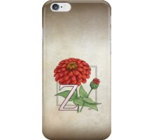 Z is for Zinnia card iPhone Case/Skin