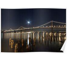 Bay Bridge with Moon Poster