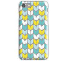 Tulip Knit (Aqua Gray Yellow) iPhone Case/Skin