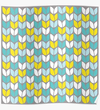 Tulip Knit (Aqua Gray Yellow) Poster