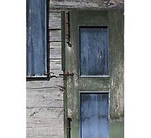 Green Door Blue Shutter Photographic Print