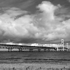 Mackinac Bridge Cloudy Day Lake Huron Side by marybedy