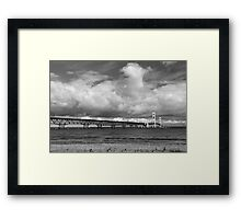 Mackinac Bridge Cloudy Day Lake Huron Side Framed Print