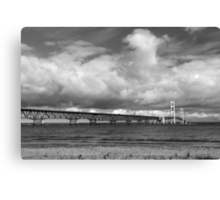 Mackinac Bridge Cloudy Day Lake Huron Side Canvas Print
