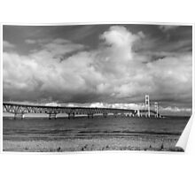 Mackinac Bridge Cloudy Day Lake Huron Side Poster