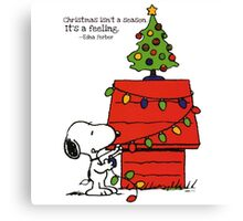 christmas snoopy lights tree Canvas Print