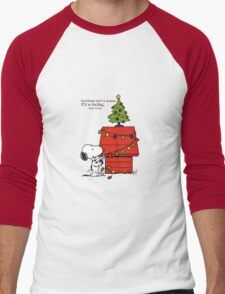 christmas snoopy lights tree Men's Baseball ¾ T-Shirt