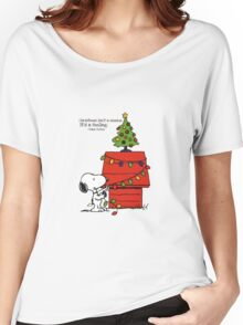 christmas snoopy lights tree Women's Relaxed Fit T-Shirt