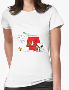 merry christmas snoopy Womens Fitted T-Shirt