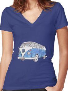 VW Van Split Screen 1966 Women's Fitted V-Neck T-Shirt