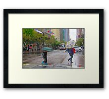 Mother and son on Market Street in the rain Framed Print