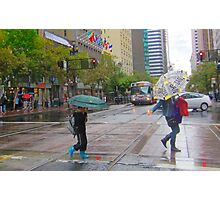 Mother and son on Market Street in the rain Photographic Print