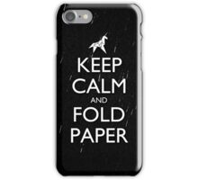 Keep Calm and Fold Paper - Unicorn / Rain iPhone Case/Skin