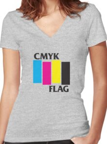 CMKY FLAG Women's Fitted V-Neck T-Shirt