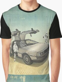 lost searching for the DeathStarr_ 2 stormtroooper in A DELOREAN Graphic T-Shirt
