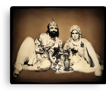 ๑۩۞۩๑1900's Rare Old  Rare Indian Royal Mughal King With His Queen (My Restoration completed) ๑۩۞۩๑ Canvas Print