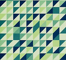 Blue And Green Geometric Grid by Phil Perkins