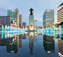 Gwanghwamun Refelctions, Seoul, South Korea by Belle  Nachmann