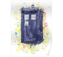 Blue Box in Wibbly Wobbly Watercolour Poster