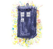 Blue Box in Wibbly Wobbly Watercolour Photographic Print