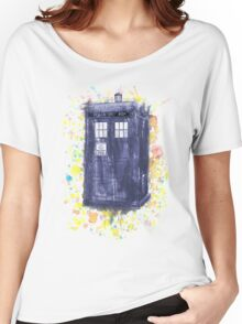 Blue Box in Wibbly Wobbly Watercolour Women's Relaxed Fit T-Shirt