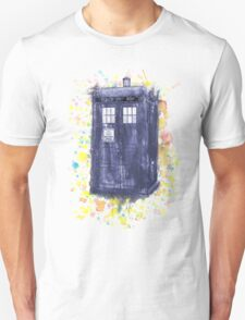 Blue Box in Wibbly Wobbly Watercolour Unisex T-Shirt