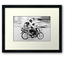 Biker Family, Cambodia Framed Print
