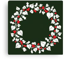 Holly and Ivy Wreath Canvas Print