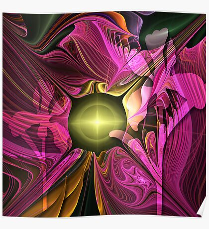 Artistic fractal abstract Summer fantasy wit Flowers Poster