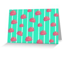 Vintage floral print - roses on turquoise stripes Greeting Card