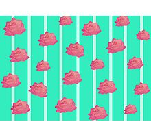 Vintage floral print - roses on turquoise stripes Photographic Print