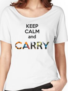 E Sports Keep Calm and Carry Women's Relaxed Fit T-Shirt