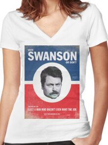 Vote For Ron Swanson Women's Fitted V-Neck T-Shirt