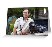 A Man & His Dog Greeting Card