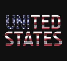 United States - American Flag - Metallic Text by graphix