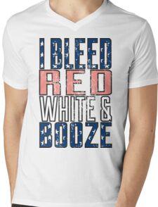 I Bleed Red White And Booze Mens V-Neck T-Shirt