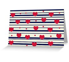Vintage pattern print - sailor hearts Greeting Card