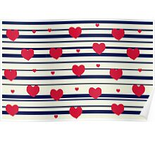 Vintage pattern print - sailor hearts Poster