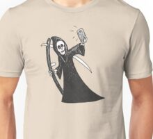 Death Takes A Selfie in the cutout style popular with the kids. Unisex T-Shirt