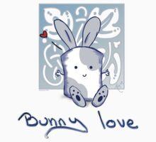 Blue Marshamallow Bunny Love  by mallowkitty