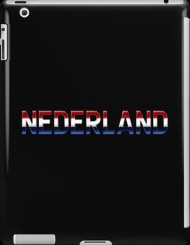 Nederland - Dutch Flag - Metallic Text by graphix