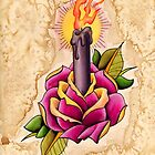 Rose Candle Tattoo by LeftyLucille
