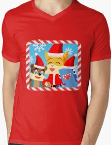 Minecraft Youtuber Stampy Cat, iBallisticsquid, L for Lee x (Christmas, Holiday, Winter Limited Edition) Mens V-Neck T-Shirt