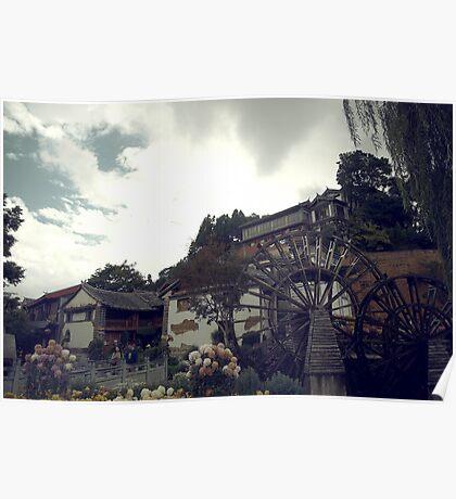 Mill Wheel, Lijiang Poster