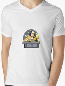 Ben Franklin Writing Retro Mens V-Neck T-Shirt