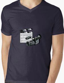 Video Camera Movie Clapboard Retro Mens V-Neck T-Shirt