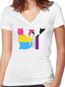 Pan Demisexual Pride Cats Women's Fitted V-Neck T-Shirt