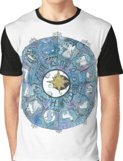 Watercolor Zentangle Zodiac Chart Graphic T-Shirt