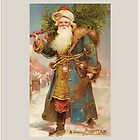 A Merry Christmas-Vintage Santa with Tree by Yesteryears